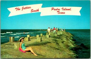 SOUTH PADRE ISLAND, Texas Postcard The Fishing Jetties c1960s Chrome Unused