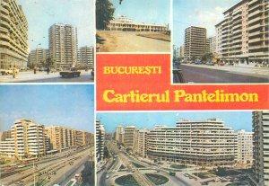Postcard Romania Bucuresti Cartierul Pantelimon multiview tennis player stamp