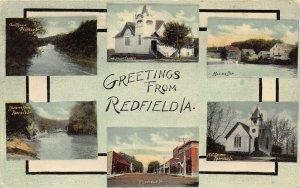 LPS42 REDFIELD Iowa Town Views Postcard