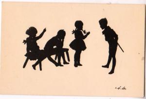 Silhouette, Children, Signed