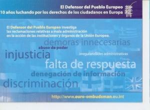 Postal 047733 : El Defensor del Pueblo Europeo 10 a?s luchando por los derech...