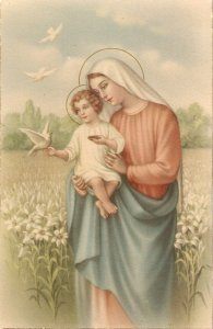 Virgin with the Child. Feeding doves Vintage Spanish reigious postcard