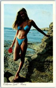 1980s California Girl Postcard NANCY Blonde Blue Bikini Beach Rocks Unused