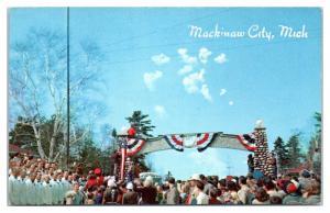 Mackinaw City, MI Mackinac Bridge Groundbreaking May 8,1954 Postcard