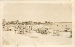 Kennebunk Beach Maine~Beach Umbrellas~Sun Bathers~Resorts~1941 Real Photo~RPPC