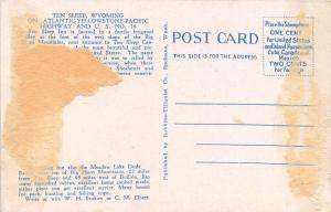 Ten Sleep Wyoming~Ten Sleep Inn (Cabin Hotel)~Log Cabins~1920s Postcard
