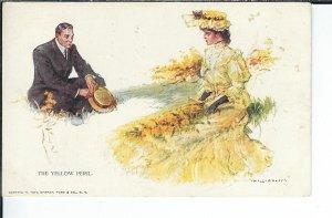 AX-032- Yellow Peril, Artist Will Grefe 1907-1915 Golden Age Postcard
