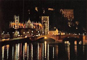 Belgium Huy La Nuit, La Collegiale, Le Fort, La Meuse Pont, Bridge Night view