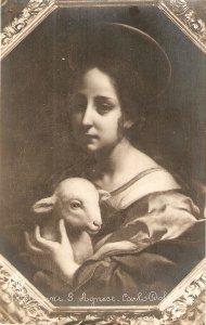 CARLO DOLCI. S. Agnese Fine painting, vintage Italian relibious PC