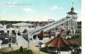 Vintage Postcard White City Amusement Park Chutes Denver CO unposted