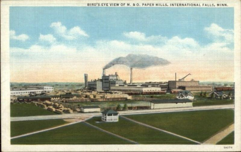 International Falls MN M&O Paper Mills LInen Postcard / HipPostcard