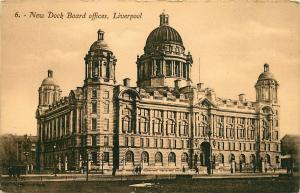 POSTCARD EARLY 1900s NEW DOCK BOARD OFFICES LIVERPOOL ENGLAND UK