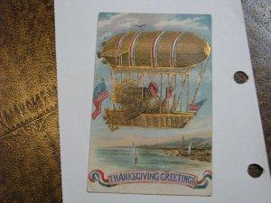 Postcard Airship Dirigible Thanskgiving Turkey American Flag Patriotic #290 1911