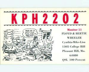 comic - QSL CB HAM RADIO CARD Pleasant Hill Missouri MO t9515