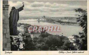 Old Postcard Budapest General view with the monument of St. Gerard