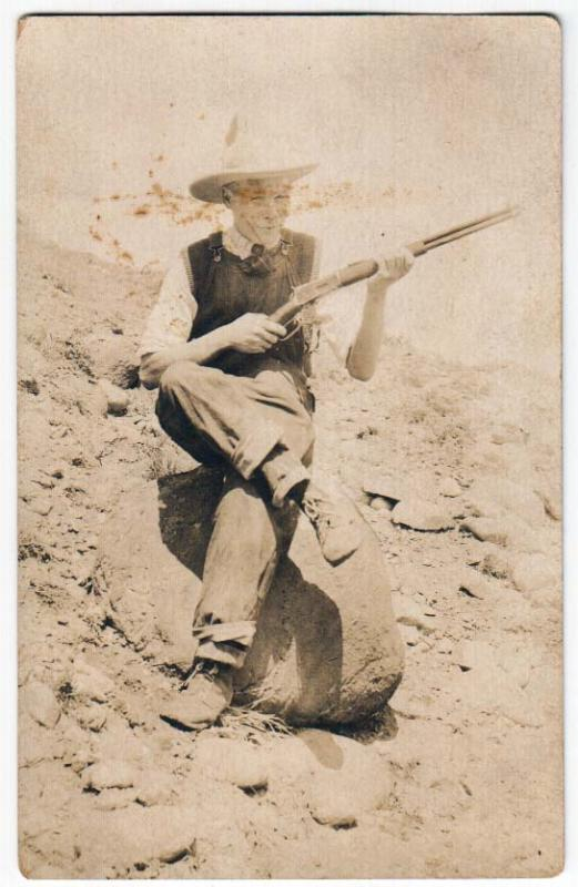 RPPC - Man / Cowboy with a Rifle