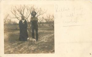 California Hot Springs Tulare 1907 Old Couple Dog RPPC real photo postcard 8072