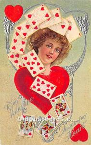 Old Vintage Gambling Postcard Post Card Queen of Hearts, Valentine 1910