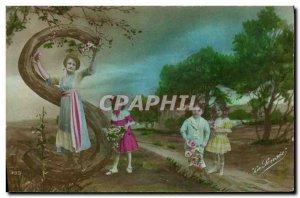 Old Postcard Fantaisie Letters Letter S Children
