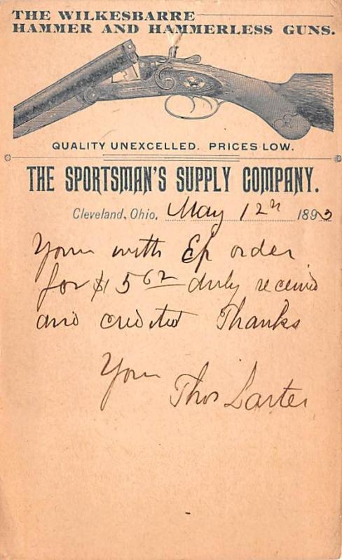 Gun, Guns Advertising Old Vintage Antique Post Card Sportsman's Supply C...