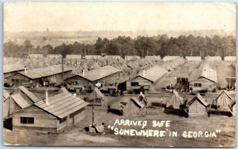 1918 WWI CAMP WHEELER Real Photo RPPC Postcard Arrived Safe SOMEWHERE IN GEORGIA