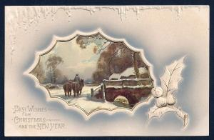 Best Wishes Christmas New Year Horses Snow Bridge used c1910
