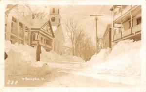 Wilmington Vermont~Man in Deep Snow~Banks Piled~City Hall Clock Tower~1948 RPPC