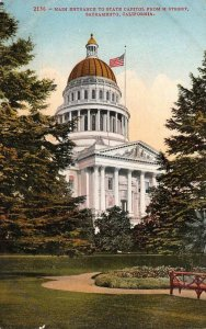 Main Entrance To State Capitol SACRAMENTO California ca 1910s Vintage Postcard