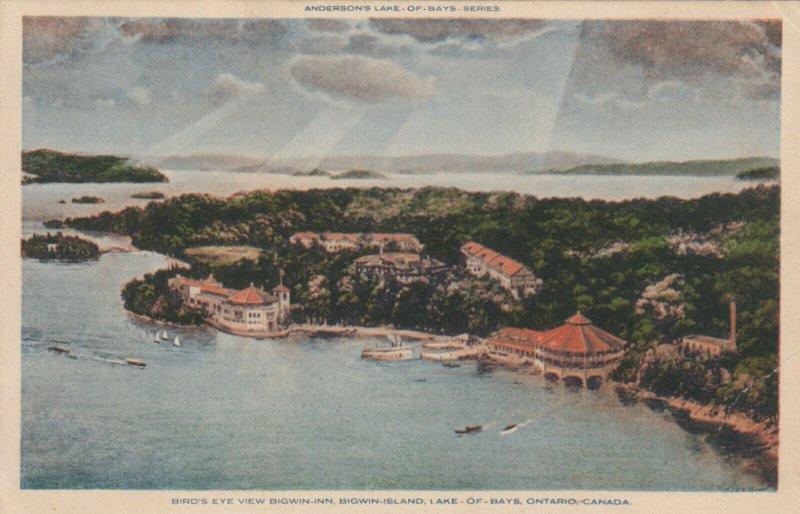LAKE OF BAYS, Ontario, 1900-10s; Bird's Eye View, Bigwin-Inn, Bigwin Island