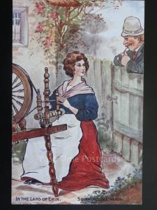 Ireland: IN THE LAND OF ERIN - Spinning The Yarn, Old Postcard M. Ettlinger & Co