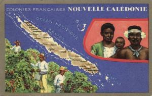 french polynesia, NEW CALEDONIA, Map Trade Card Lion Noir, Natives (1940s)