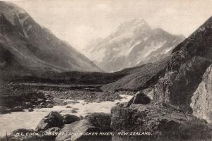 Mount Cook Hooker River Antique New Zealand Postcard