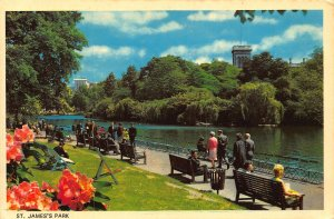 St James's Park London Promenade Benches River Postcard