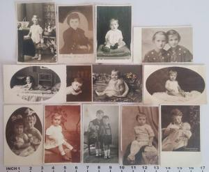 Lot 13 vintage real photo postcards children portraits
