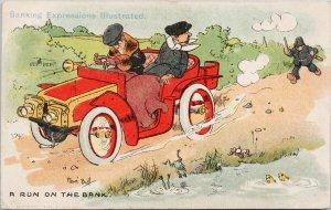 Comic 'A Run On The Bank' Policeman Banking Expressions Rene Bull Postcard G34