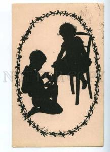 187365 SILHOUETTE Charming Kids in Egg EASTER Vintage PC