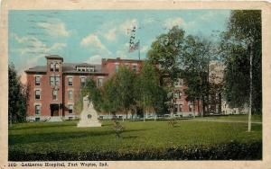 Fort Wayne Indiana~Lutheran Hospital~Statue Out Front~Birch Trees~Flag~1923 PC
