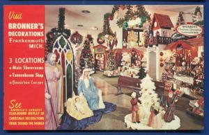 Michigan MI Frankenmuth Bronner's Christmas Decoration Advertising Postcard