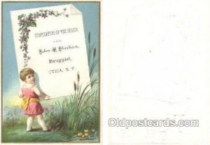 John H Sheehan Druggest, Utica, NY USA Trade Card Approx Size Inches = 3.25 x...
