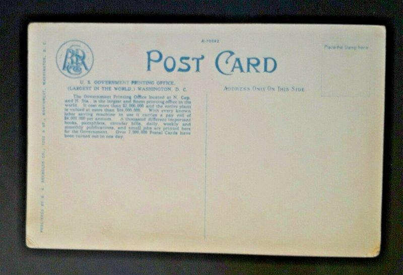 Mint Vintage Washington DC US Government Printing Office 1920s Postcard