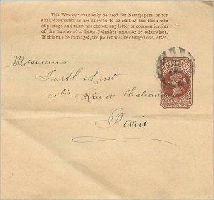 Entier Postal Stationery Postal Britain Great Britain 1 / 2p for Paris