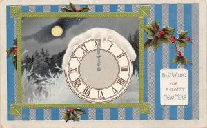 New Year~Snow Topped Midnight Clock~Icy Trees~Full Moon~Silver Blue Stripe~Embos