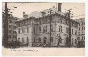 Post Office Greensboro North Carolina 1905c Rotograph postcard