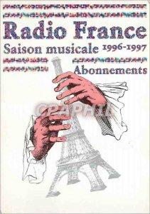 Postcard Modern Radio France musical Season Subscriptions Paris Tour Eiffel
