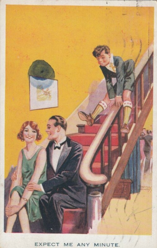 AS; Expect me any minute, Boy sliding down banister toward couple, PU-1927