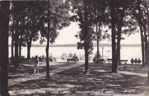 Wisconsin Delavan Lake Swimming Pier Lake Lawn 1945 Real Photo RPPC