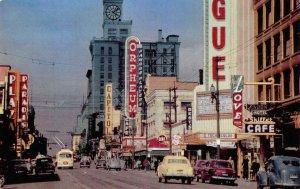 Granville Street Scene VANCOUVER, BC Canada Orpheum c1950s Vintage Postcard