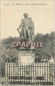 Old Postcard Brive Correze Statue of Marechal Brune