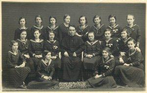 Religion school uniforms history girls class priest teacher early photo postcard
