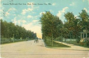Armour Blvd East from Main St Kansas City MO Pre-Linen Postcard Horse Carriages